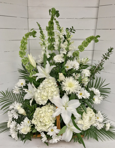 Fireside Basket in Creamy whites and Greens