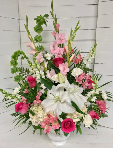 Garden Urn in Pinks and a Whites