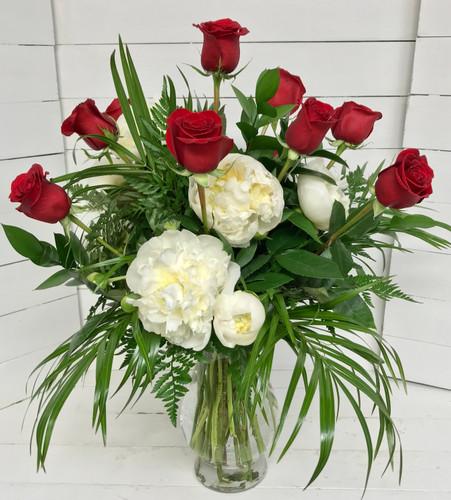Crimson Roses and Peonies Fresh Vase