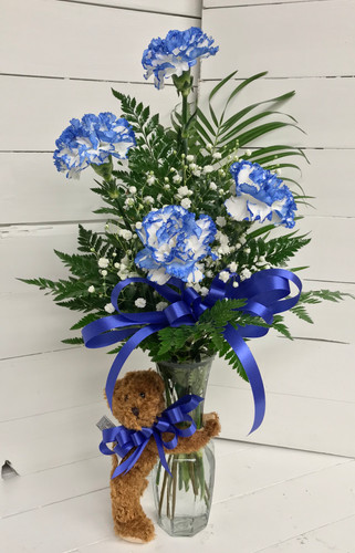 4 Blue Carnation Bud Vase and Bear