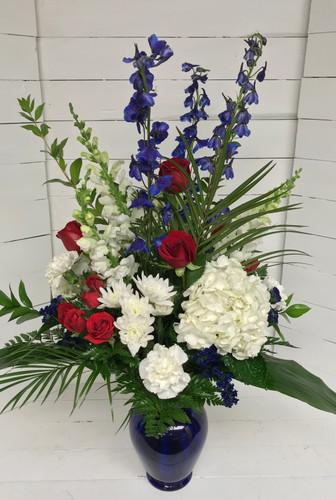 Red, White, and Cobalt Blue Vase