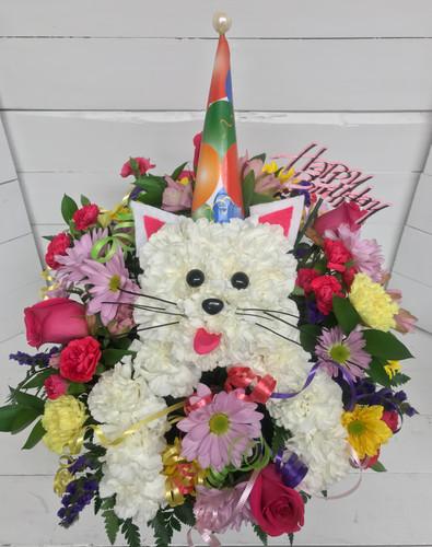 """Happy Birthday Party Cat"" Fresh Arrangement"""