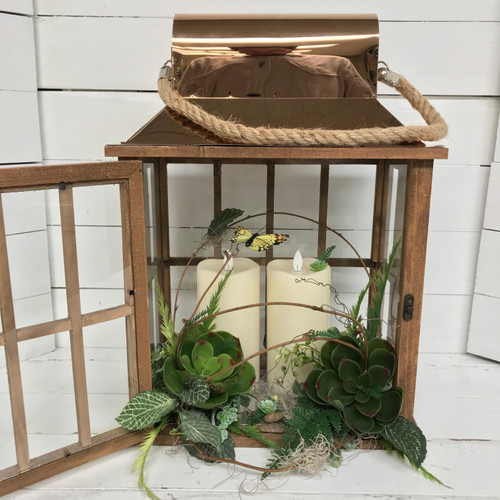 """18"""" Copper and Wood Succulent Lantern with Mirage Candles"""