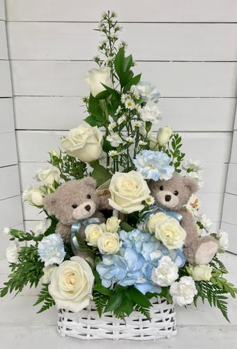 """Twin Teddy Bears Arrangement"" For Boys or Girls"
