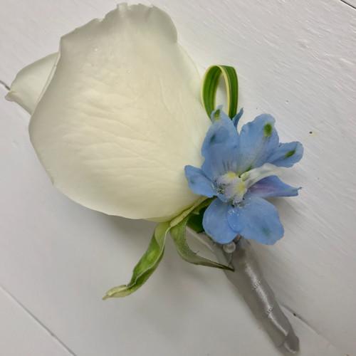 White Rose Boutonniere with delphinium