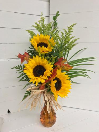 Sunflower Harvest Bud Vase with Fall Trim