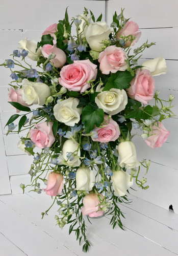 Two Dozen Rose Cascading Bridal Bouquet with delphinium