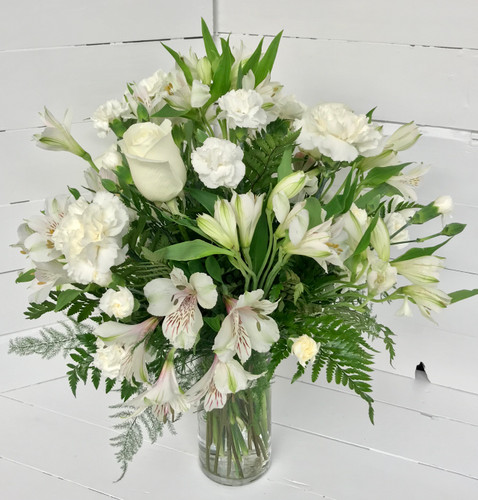 Elegant Little Fresh Vase in Creams, Whites, and Greens
