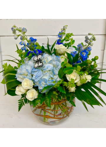 Blue and White Curly Willow Bubble Vase