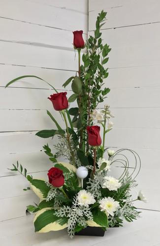Golf Lover's Stylish Red Rose Arrangement