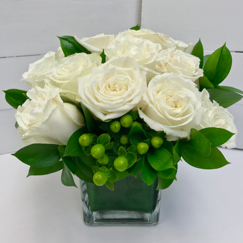 Lovely Dozen Compact Rose Cube with Berries