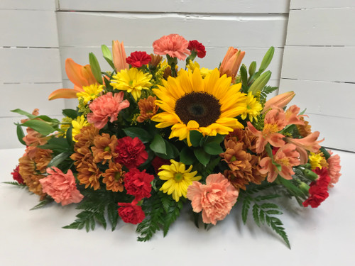 Sunflower and Orange Lily Fall Centerpiece