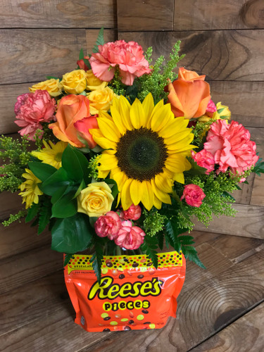 """Reese's Pieces Lover"" Fresh Vase Arrangement with 9.9 Ounce bag of candy"