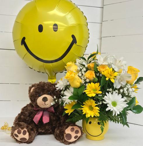 Smiley Mug and Birthday Bear Bouquet