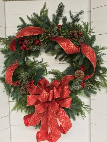"24"" Festive Holiday Wreath with Berries and Pinecones"