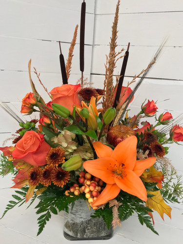 Orange Lily and Rose Birch Cube