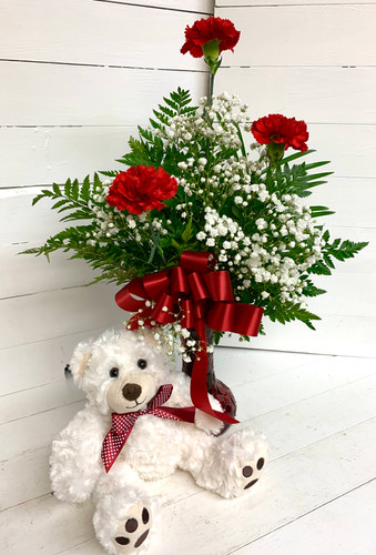Big Bear and Carnation Bud Vase Combo
