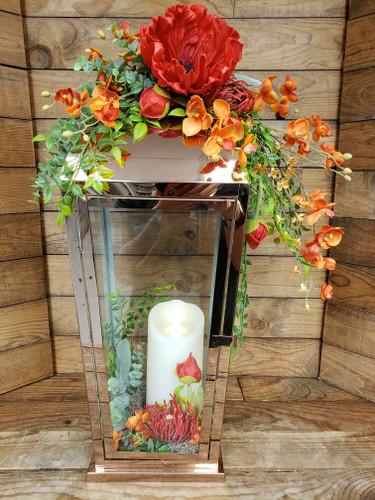 Copper Lantern With Red & Orange Silks