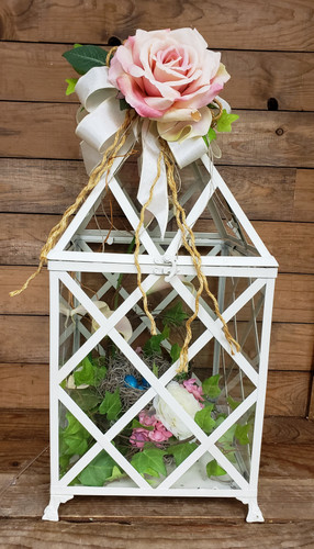 White Lantern With Rose and Nest