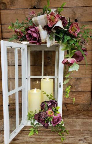 White Lantern with Maroon Silks & 2 Candles