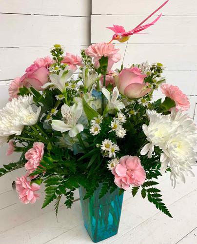 Vivid Hummingbird Fresh Vase Arrangement - Blue Vase