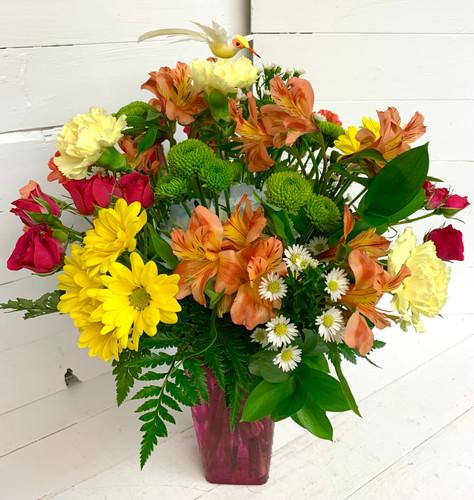 Vivid Hummingbird Fresh Vase Arrangement - Pink Vase
