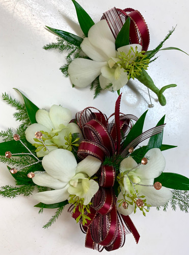 3 Bloom Dendrobium Orchid Wrist Corsage and Boutonniere Combo