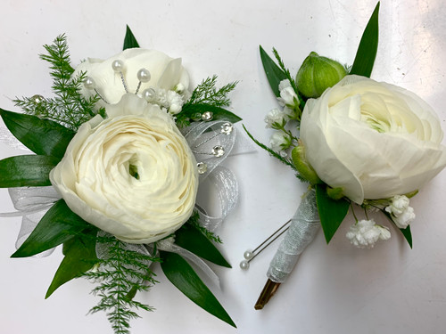 2 Bloom Ranunculus Corsage and Matching Boutonniere Combo