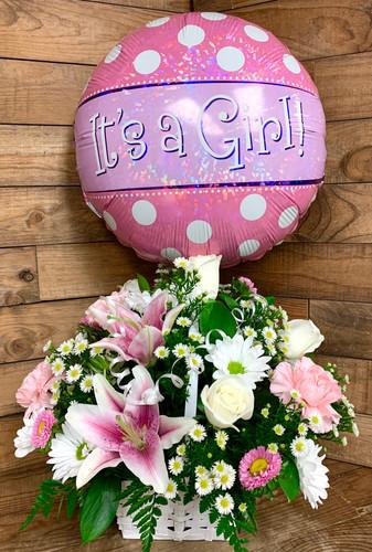 Beautiful Baby Girl Basket with Mylar Balloon
