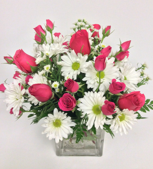 Hot Pink Rose & Daisy Cube