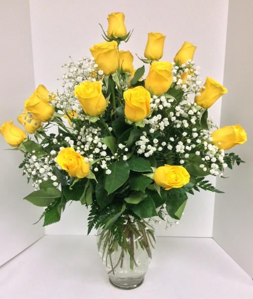 Two Dozen Short Stemmed Yellow Roses Arranged