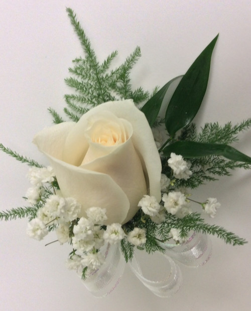 White Rose Boutonnière With Greenery & Ribbon