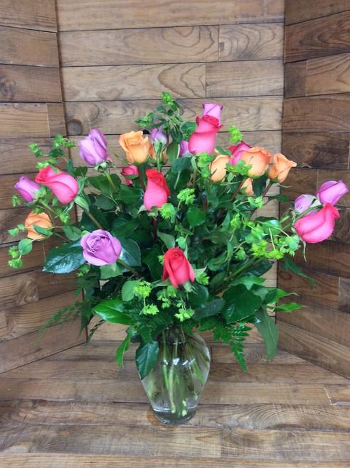 2 Dozen Premium Ecuadorian Mixed Colored Roses Arranged