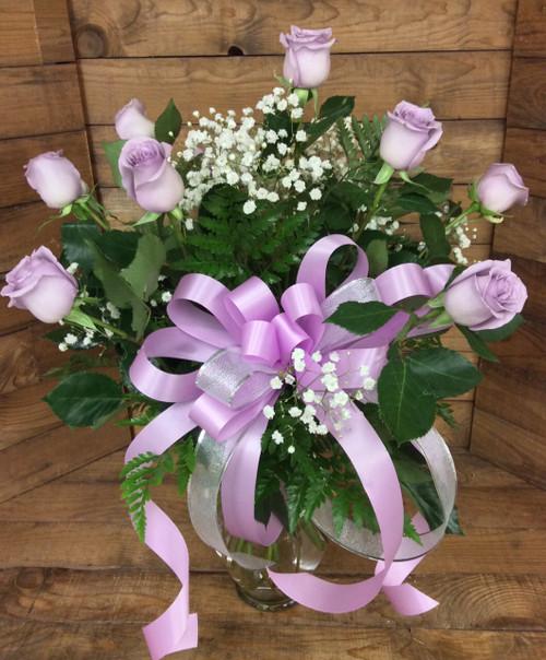 Dozen Long-Stemmed Premium Ecuadorian Lavender Rose Arrangement