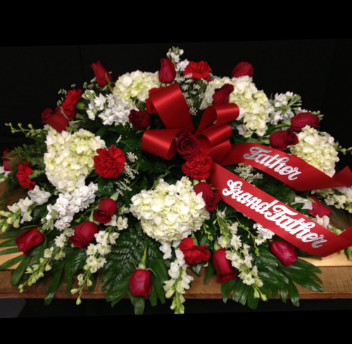 1/2 Couch Casket Spray in Reds Whites and Creams