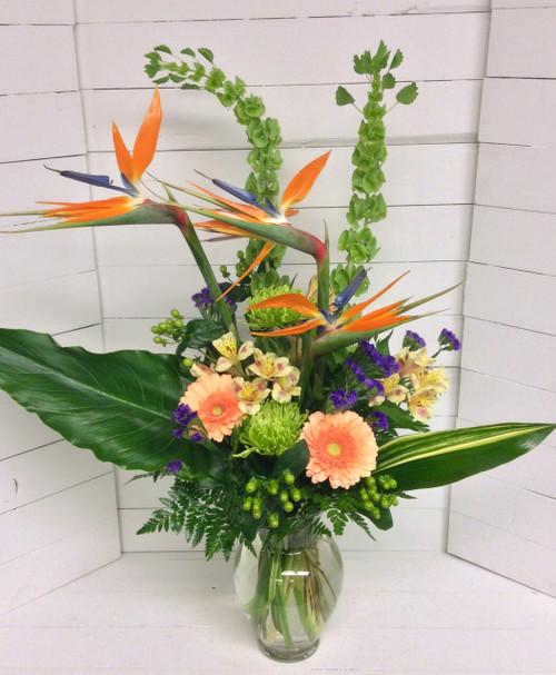 """Birds in the Garden"" Tropical Vase"