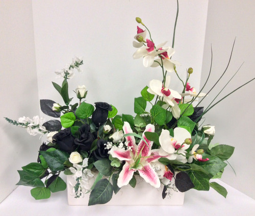 Contemporary Silk with Orchids in White, Pink, and Black