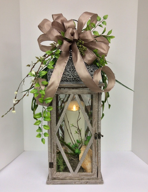 Large Whitewashed Wooden Taupe Lantern with Mirage Candle and Silk Embellishments