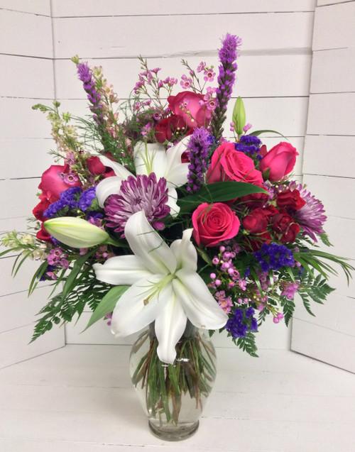 Lovely Jewel Tones in Crystal Urn Vase