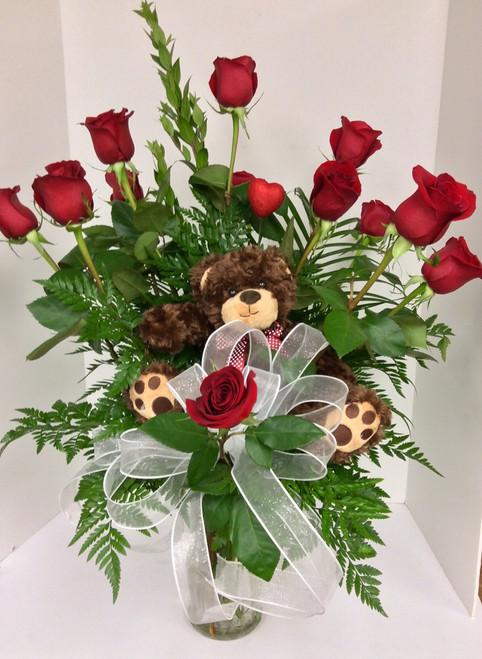 Beary Beautiful Red Rose Arrangement