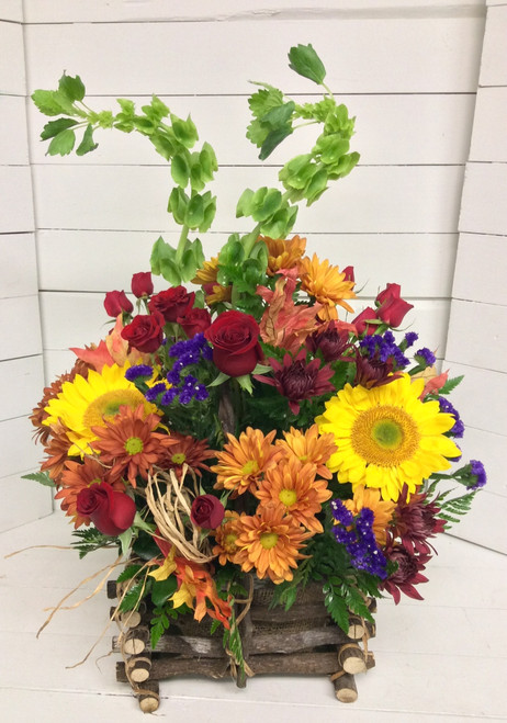 Rustic fresh Basket with sunflowers and Bells