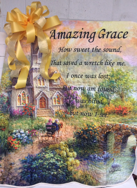 """""""Amazing Grace"""" Quilt on an a Easel with Bow"""