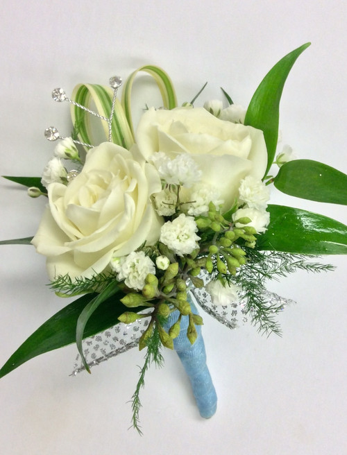 2 bloom sweetheart rose Boutonniere with ribbon wrapped Stem and rhinestones