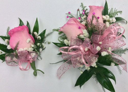 """""""Pretty in Pink"""" Corsage and Boutonniere Combo"""
