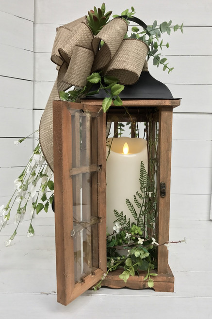 Large Succulent and Eucalyptus Lantern with Flameless Flickering Mirage Candle