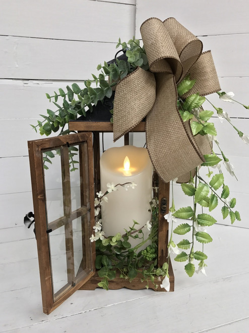 Small Succulent and Eucalyptus Lantern with Mirage Flameless Flickering Candle