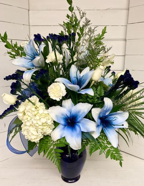 Amazing Blue Lily, Rose, and Hydrangea Vase