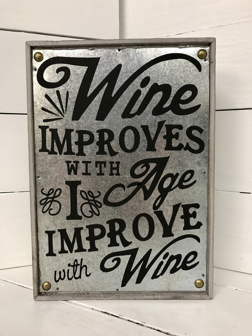 "9 1/2"" by 6 1/2"" wood and metal wine sign"