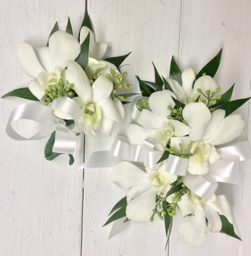 White Orchids and white satin wrist corsage and Boutonnière combo