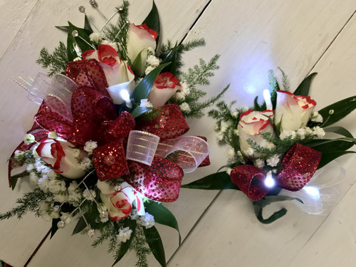 Tipped sweetheart Wrist Corsage and Boutonnière combo with LED lights